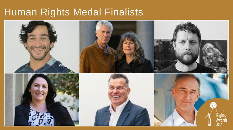 Composite of photos of human rights medal finalists