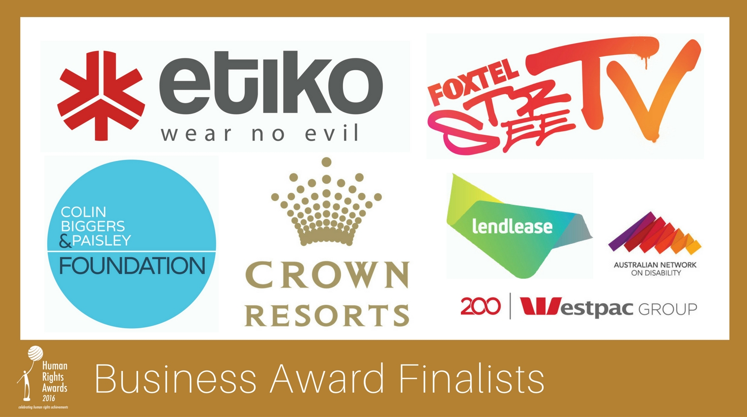 Composite of Business Award finalist logos 2016