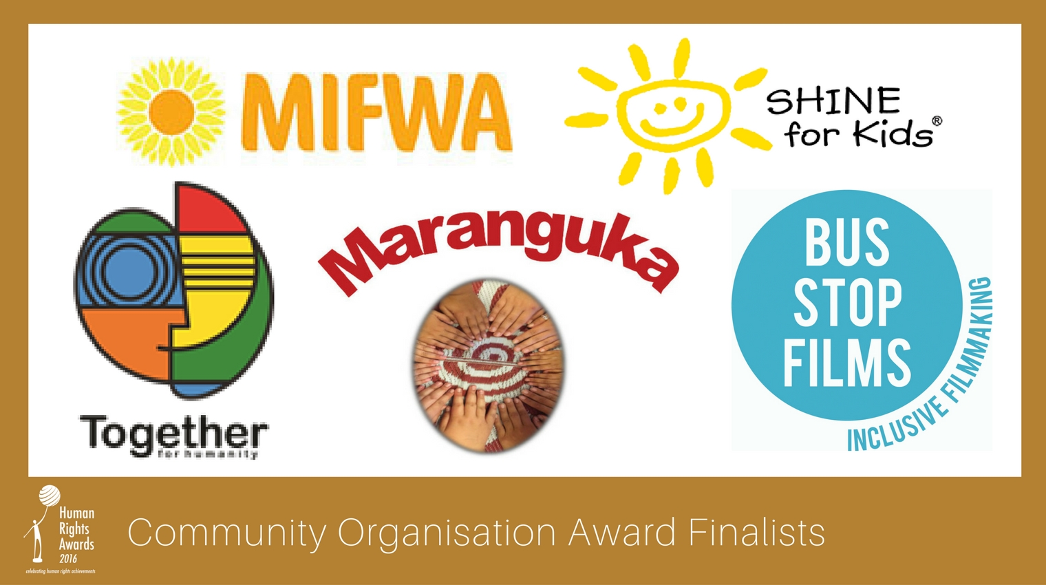 Composite of Community Organisation Award finalist logos