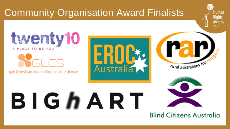 Composite of Community Org Award finalist logos