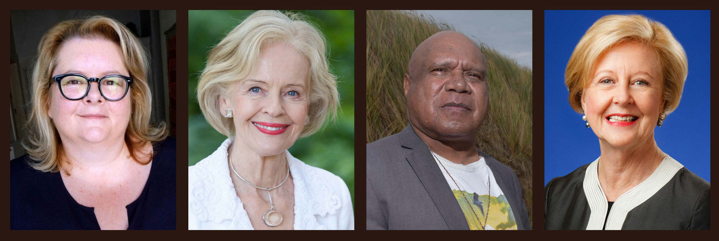 A collage of Magda Szubanski, Dame Quentin Bryce, Archie Roach and Gillian Triggs