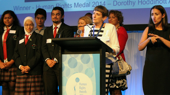 Winner of the 2014 Human Rights Medal Dorothy Hoddinott