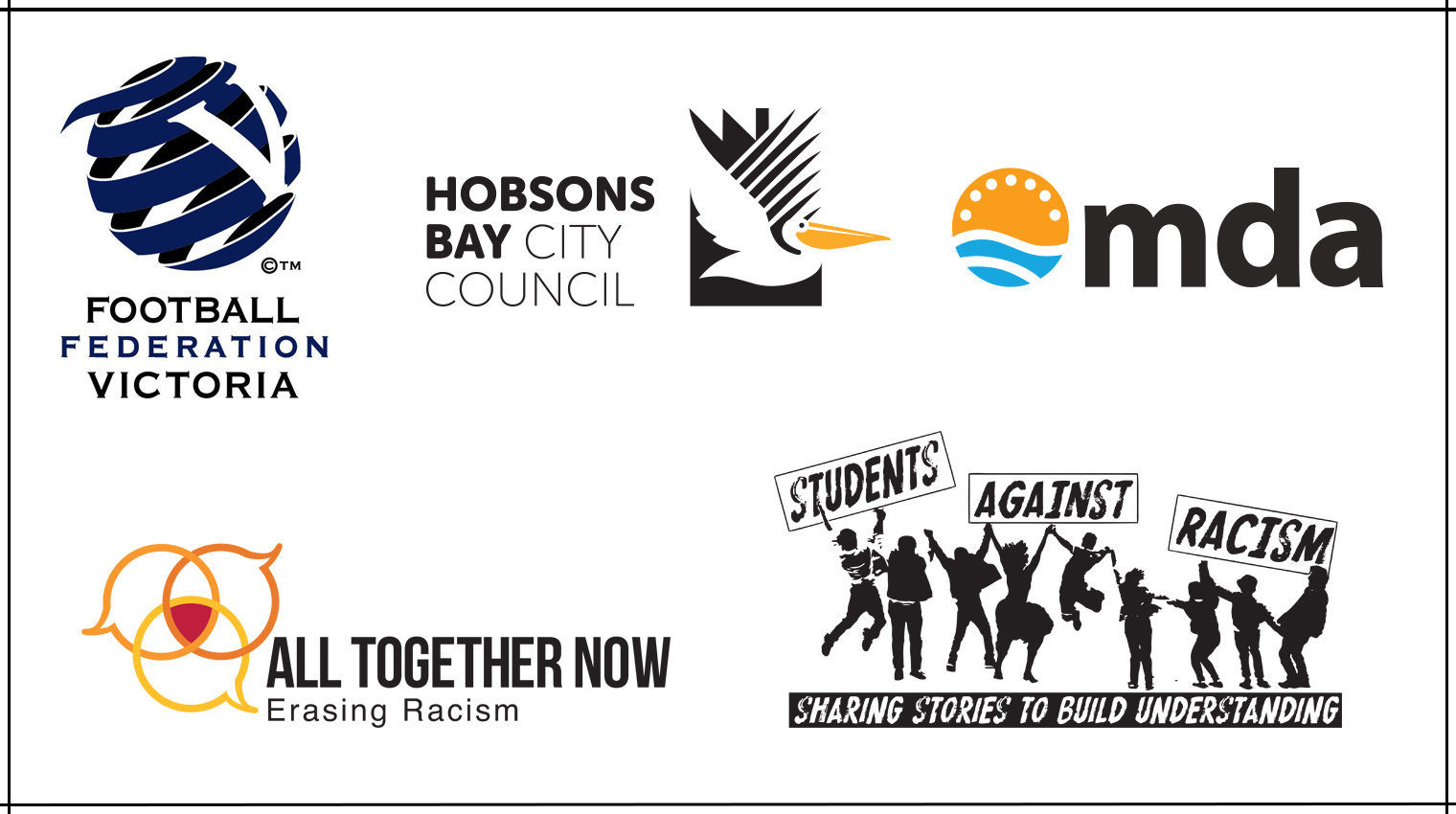 Logos of the 5 RISWM award finalists: Football Federation Victoria, Multicultural Development Agency, All together Now,  Hobsons Bay City Council and •Tasmanian Students Against Racism