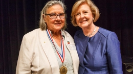 Pat Anderson receiving the 2016 Human Rights Medal from Gillian Triggs. Photo by Matthew Syres