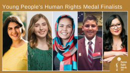 Composite of photos of Young People's Human Rights Medal finalists 2017