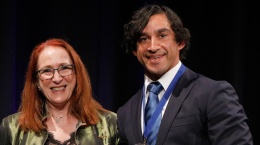 Johnathan Thurston, Human Rights Medal Winner, with Commission President Rosalind Croucher