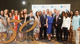 """Text """"30 Years"""" and photo: Commission President Professor Gillian Triggs and finalists of the 2015 Human Rights Awards"""