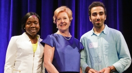Gillian Triggs and representatives of the Tasmanian Students Against Racism award winners