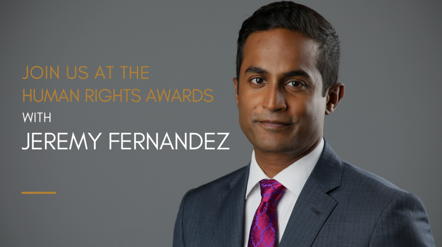 Photo of Jeremy Fernandez - text: Join us at the Human Rights Awards with Jeremy Fernandez